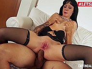 Bald stallion from Italy during audition actively assfucks newcomer Luna Oara on sofa