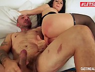 Bald stallion from Italy during audition actively assfucks newcomer Luna Oara on sofa 8