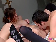 Pretty Spanish babes get their wet pussies eaten before group sex with skinny men 4