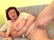 Attractive mature diva with red hair with super-big natural melons enjoys dildo in trimmed snatch 5