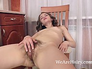 Female with hairy cherry does it with own fingers and almost falls off chair reaching orgasm