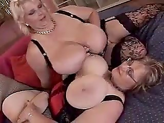 Two big mature ladies play with their heavy natural melons and lick sweet nipples