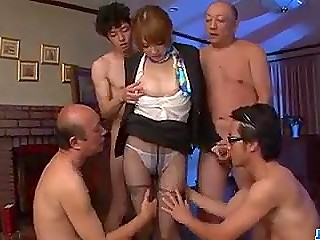 Japanese secretary in pantyhose blowbanged and facialized by a group of men