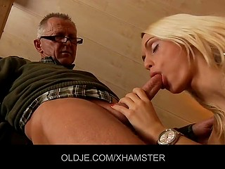 Sweet tender blonde from Portugal makes love to older man and swallow his sperm