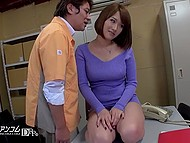 Boss can't overcome carnal desires and convinces Japanese sweetie to climb on the table for hairy pussy licking