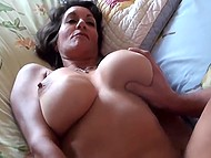Blue vibrator is a good thing but mature woman needs a hard cock that will cum inside hairy vagina 6
