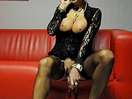 Busty Polish woman in stockings easily can talk on the phone and wear pussy weights at the same time 6