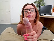 Likable nerdy redhead spreads legs for employer on camera to work as a secretary
