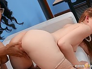 Shameless secretaries had hot lesbian sex right in the office in front of the bosses 5