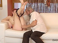 Older man shows inexperienced guy how to handle his tight girlfriend's pussy in a right way 5