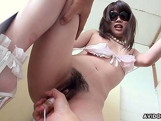 Mustached guy brings Japanese girl to restroom where masturbates hairy pussy using vibrator and receives blowjob