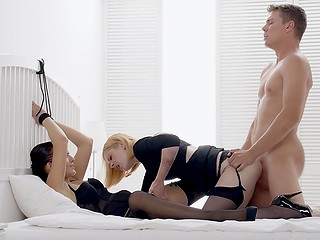 Buddy realizes fantasy of blonde Lilien Ford to have fetish threesome with Lana Belle