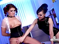 Teen has no choice and must sit on sex machine to make mistress watch her cumming