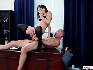 Hot business lady gives blowjob, gets fucked and swallows cum from an office worker