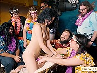 To burn calories fast girl gets masturbated by friends at the party instead of exercises