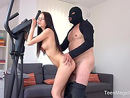 Old robber invades Rebecca Volpetti's apartment and forces her to have quick fuck 8