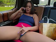Hottie Kiki Klout flirts on phone with BF and teases driver by fingering cunny in backseat 7