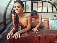Brunette chicks want lesbian sex and spit on the rules coming to pool and licking pornstar with red hair 5
