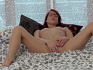 Enticing redhead with glasses Leila Smith returns home to play solo with new sex toy 6
