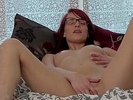 Enticing redhead with glasses Leila Smith returns home to play solo with new sex toy 7