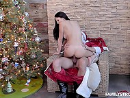 Man dressed like Santa Clause entices naive stepdaughter Ariana Marie into nice sex 5