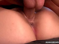 Small-tittied Japanese girl has smooth pussy and guys with pleasure fuck it in turn 10