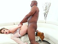 Slutty blonde Cadence Lux drilled on couch by black bruiser till receiving cum on face 5
