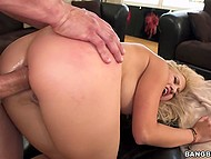 Man drills blonde's asshole without caring about her sensations and fills it with cum