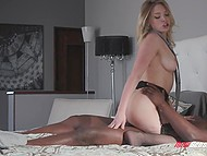 Girl in stockings is glad because husband doesn't mind if she has sex with black stallions 7
