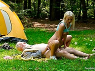 Old mushroom picker sees enchanting blonde in the forest and treats her pussy with strong cock
