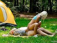 Old mushroom picker sees enchanting blonde in the forest and treats her pussy with strong cock 4