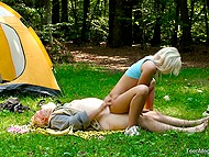 Old mushroom picker sees enchanting blonde in the forest and treats her pussy with strong cock 5