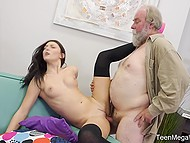Young bitch in stockings makes sure that old stallion with grey beard fucks pussy so well