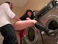 Horny man touches brunette's ass in laundry and she spreads legs in people's presence 4