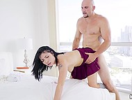 Lovely Rina Ellis from South Korea receives pleasure from sex with big-cocked stallion JMac