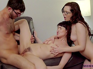 Nerdy college boy with great pleasure fucks hairy vaginas of girlfriend and her stepmom