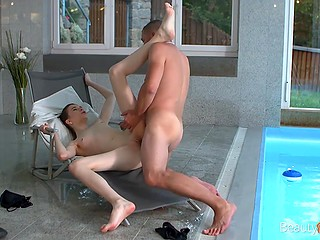 After work man comes to pool where fucks young wife with small tits and skinny legs