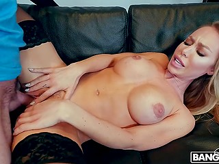 Youngster from Spain stretches pussy of famous pornstar Nicole Aniston with strong penis