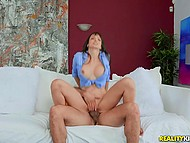 Curious boy doesn't waste chance to stretch chesty neighbor Lexi Luna and cum on her face 5