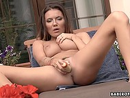 Beautiful Czech girl Vanessa Decker uses vibrator to satisfy pussy out-of-doors