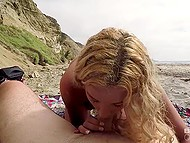 Young blonde Sophia Lux and her BF finally find empty beach perfect for teen to suck his cock