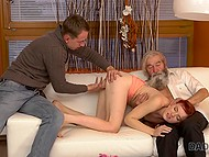 Weirdo licking pussy redhead fragile friend for trying to seduce an old stepfather