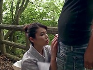 Winsome Japanese girl in kimono shows wonderful ass on wooden bridge and gives blowjob 6