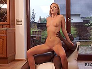 Ebony man saves blonde Vinna Reed from rain and for that she is willing to have fun with his dick