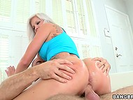 Blonde MILF with pierced snatch jumps on partner's throbbing fuckstick like champ 7