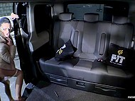 Businesswoman with glasses Any Maax and experienced chauffeur make love in backseat 4