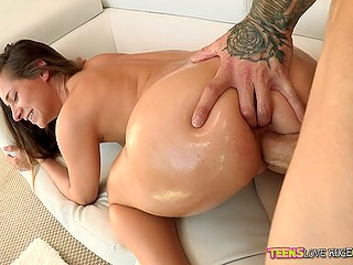 Lovely gal Cassidy Klein moans as huge fuckstick actively slides into her oiled up twat