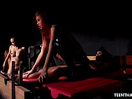 Thai babe in a red jacket gives slave girl a hint that she needs her to be nailed by hogtied man