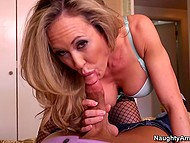 Hospitable woman Brandi Love gives stepson's friend cup of tea and takes his cock in mouth