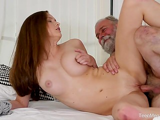 Bearded old man gives young lover cunnilingus and fucks wet pussy after she blows cock